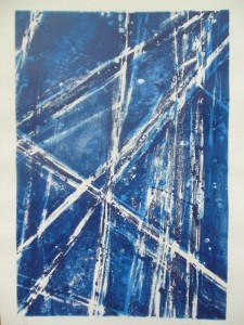 Abstraction in Blue (Lithography on stone)