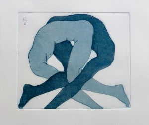 Acrobats II blue(Etching and Aquatint)