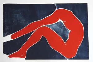 Acrobats III red (Woodcut)