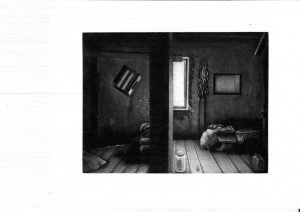 Between the light and the shadow I (Mezzotint)