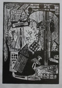 In the yard of dreams (Linogravure)