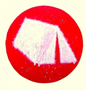 Poet (lino,woodcut,chine collé on CD)