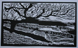 The last tree in my country (Linocut)
