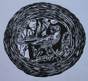 The loney bird in the dark forest (Linocut)