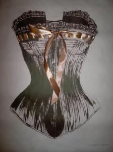 Victorian Corset (Litograph and satin ribbon)