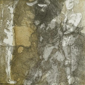 minotaur and virgins (auqtint, etching, 3 plates)